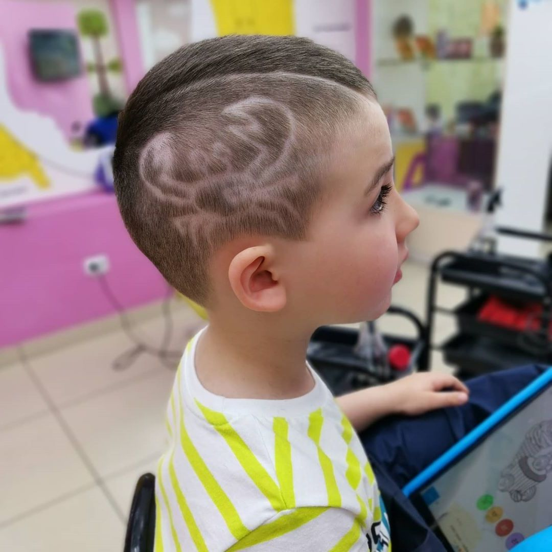 Crab and Waves Hairstyle for Toddler Boys - right side view