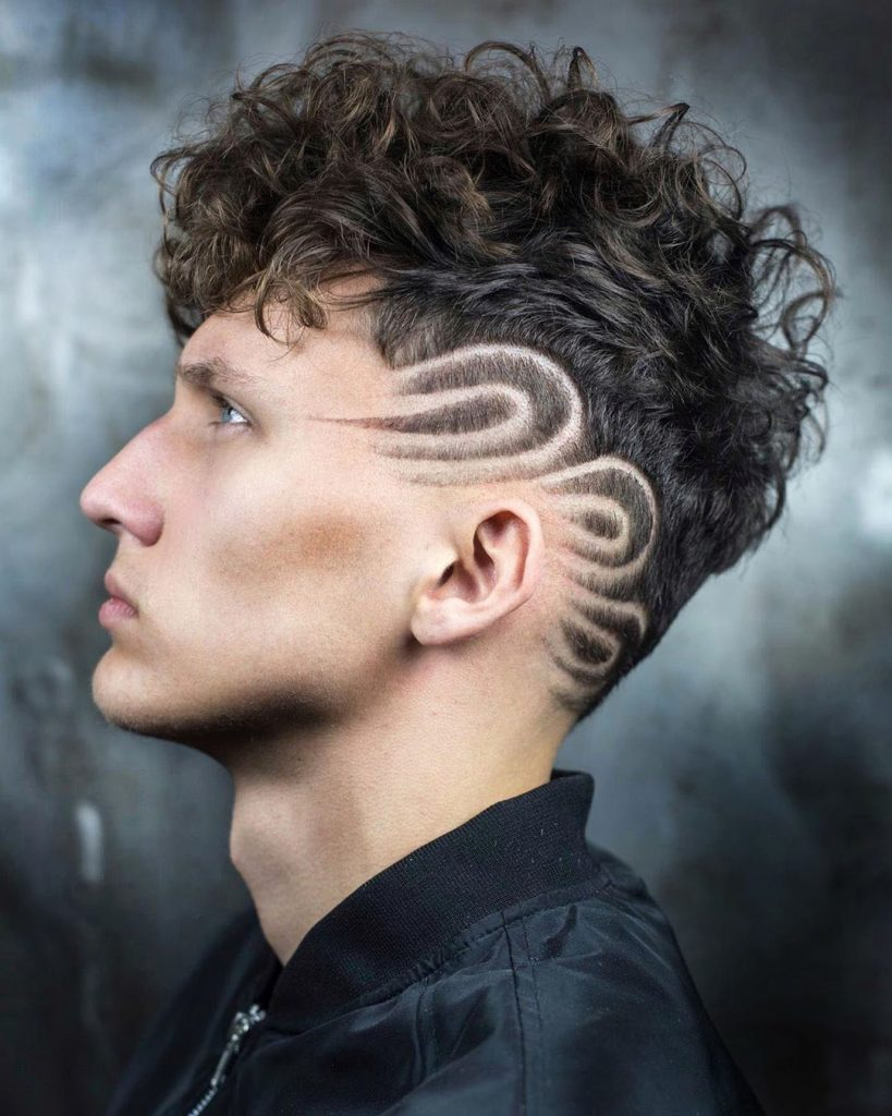 Curly Top Undercut with Design Lines - left side view