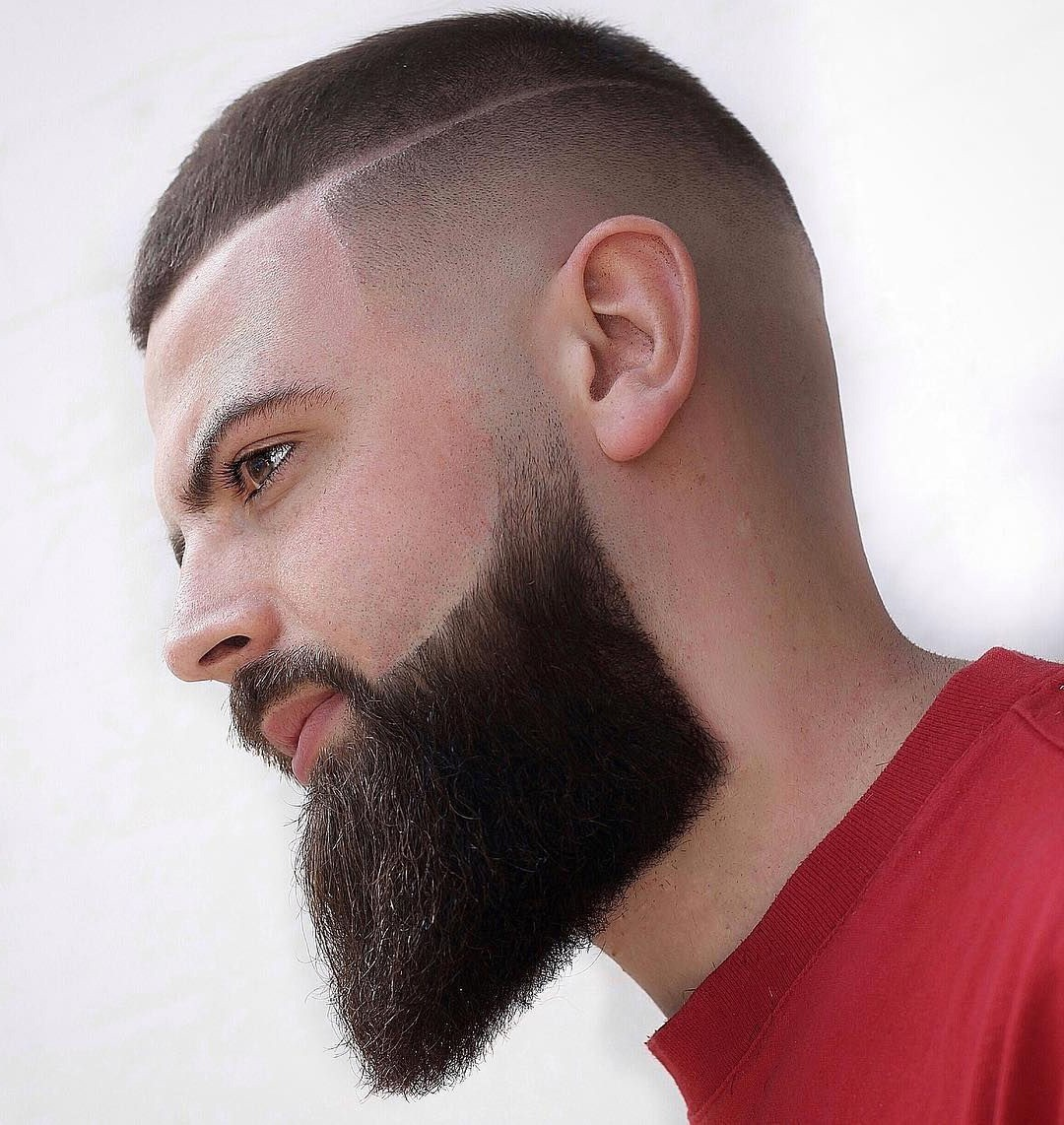 Disconnected Undercut Haircut with Skin Fade and Full Beard