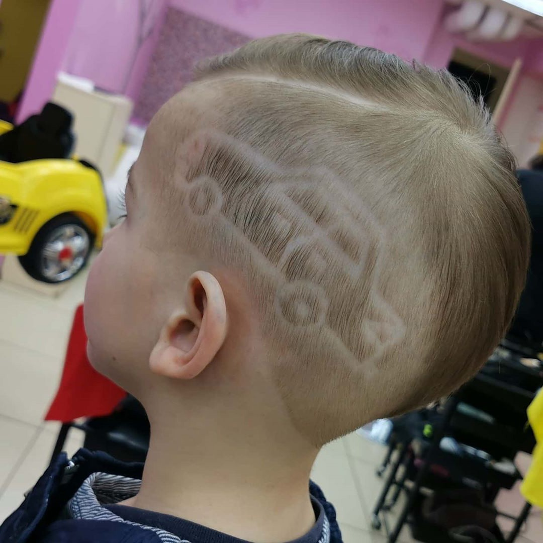 Fade Undercut Hairstyle for Little Kids with Car Design