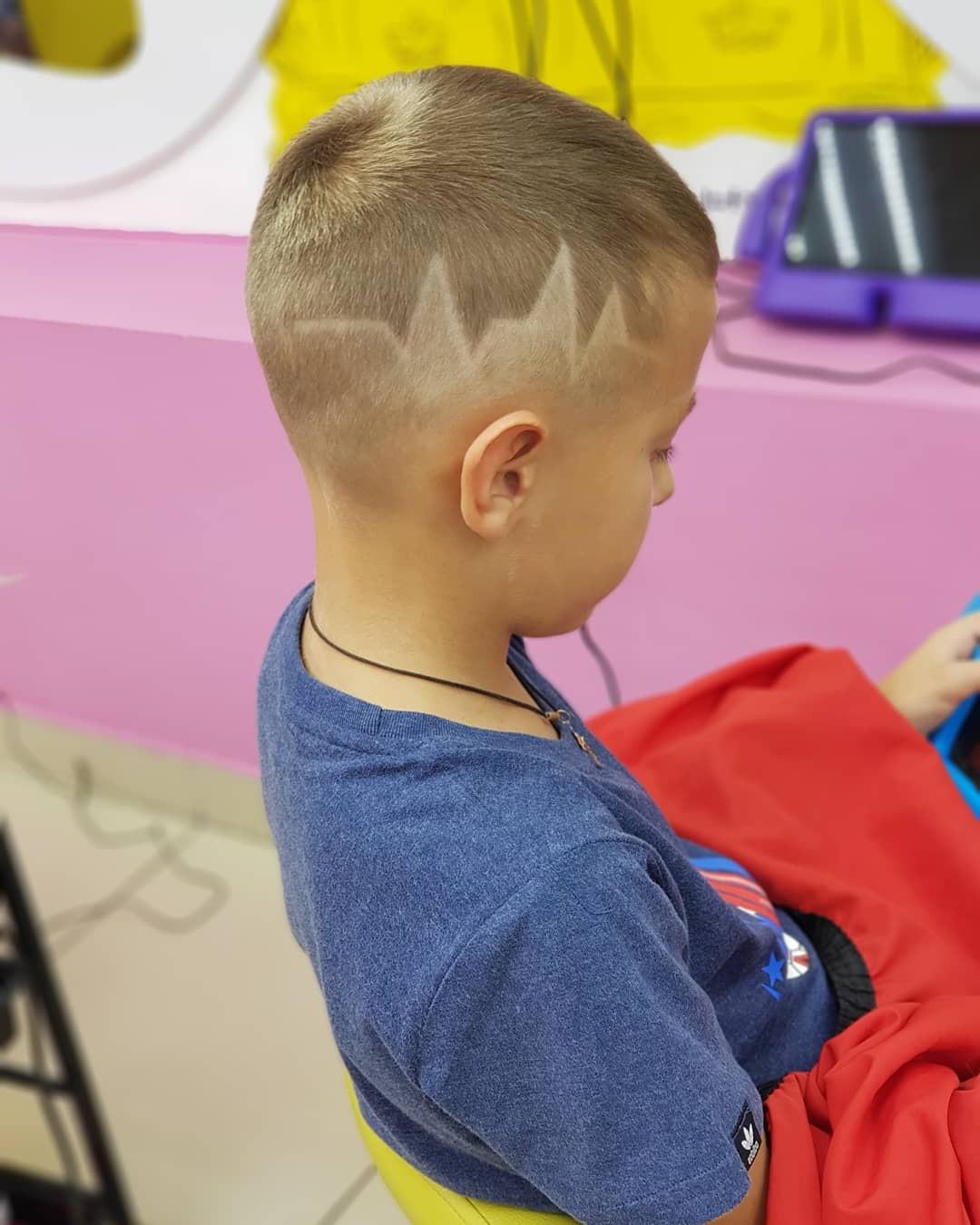 Fade Undercut with Pulse Line Design for Kids