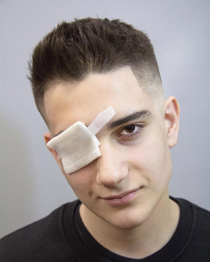 Faux Hawk Fade Design for Boys with Eye Patch