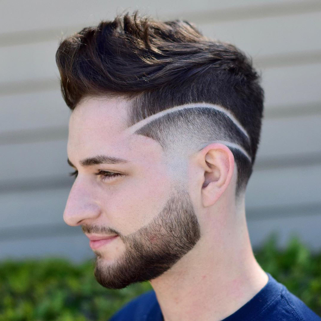 Faux Hawk Undercut Design with Two Lines for Guys