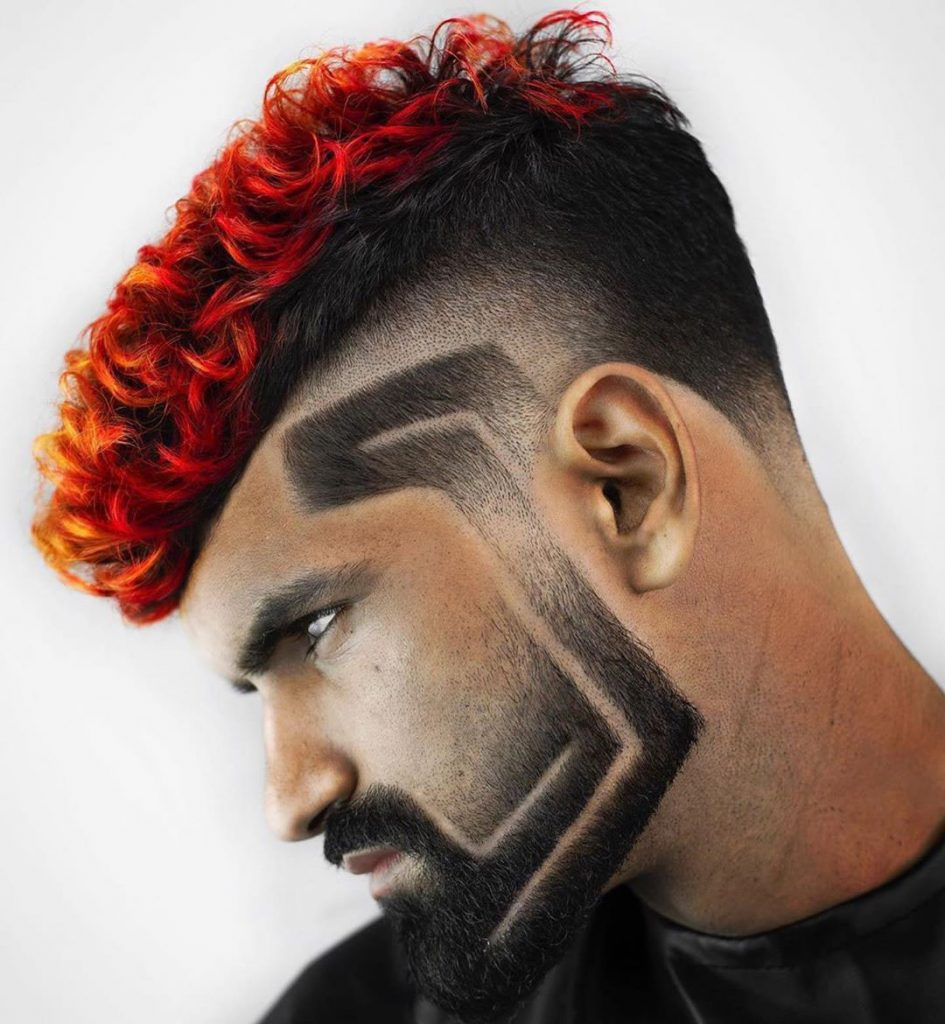 Flaming Undercut Design with Facial Pattern