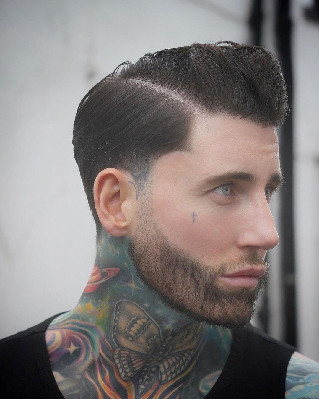 Hard Part Pompadour Undercut with Beard