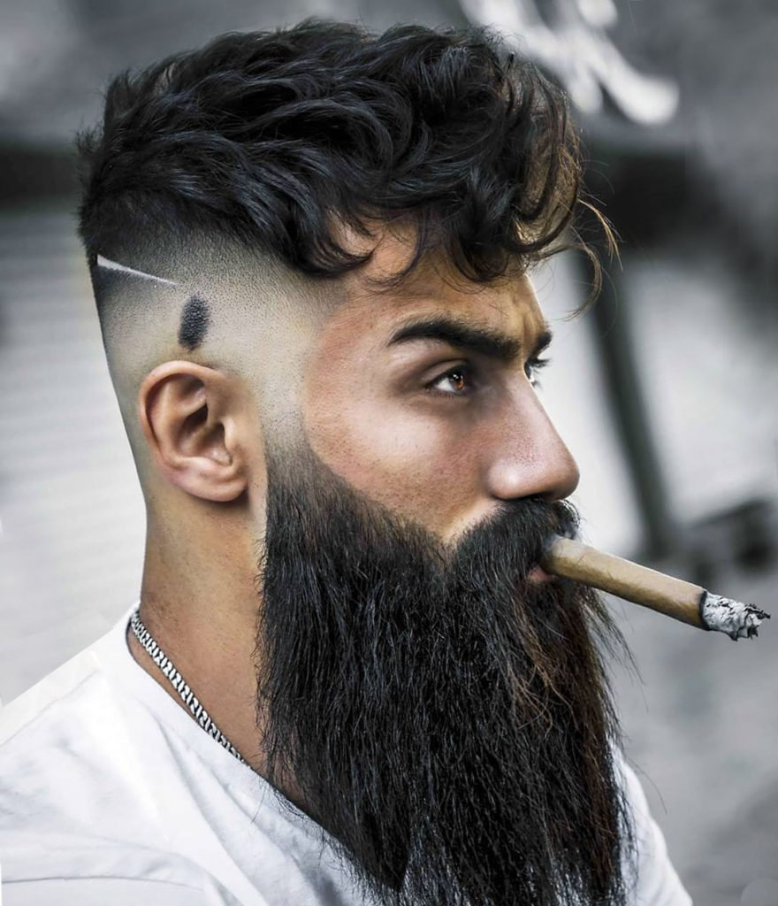 High Fade Undercut Hairstyle with Long Full Beard