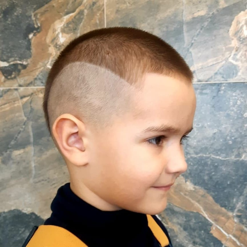 High Fade Undercut with Triangle Design for Toddler Boys