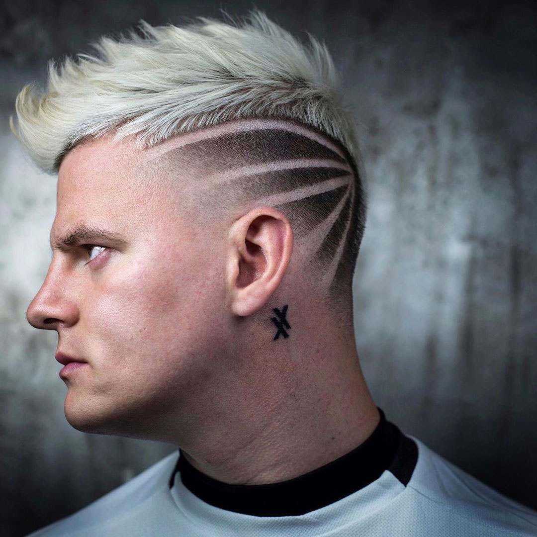 Icy Blonde Short Blowout Undercut and Hardline Design - left side view