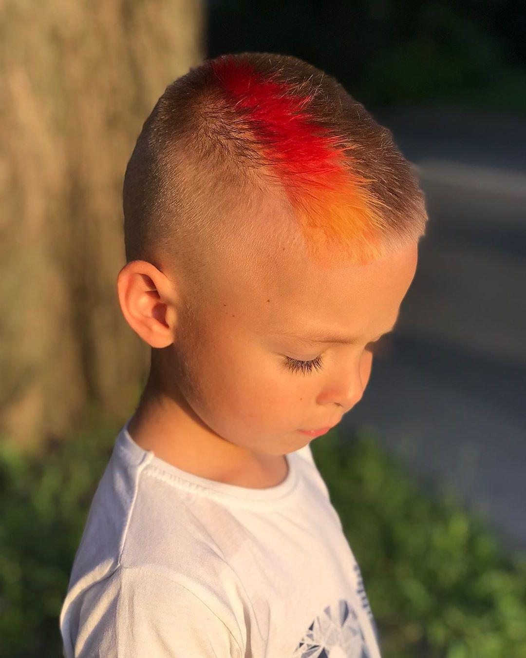 Kids Orange Hair Undercut Design - side view