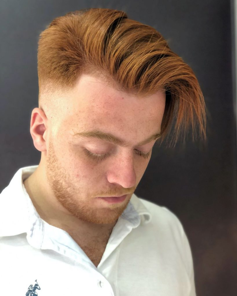 Long Fringe Side Swept Undercut Haircut