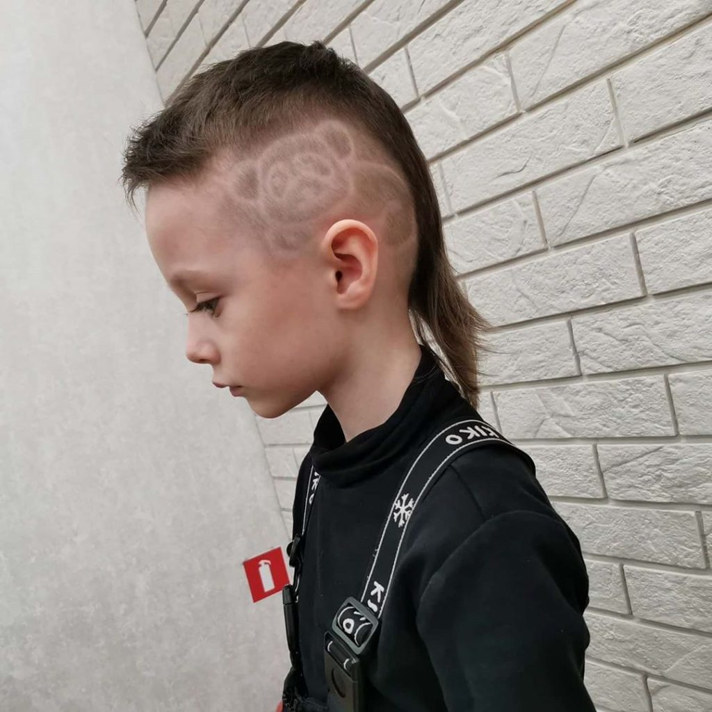 Long Hair Undercut Hairstyle for Boys with Panda Design - side view
