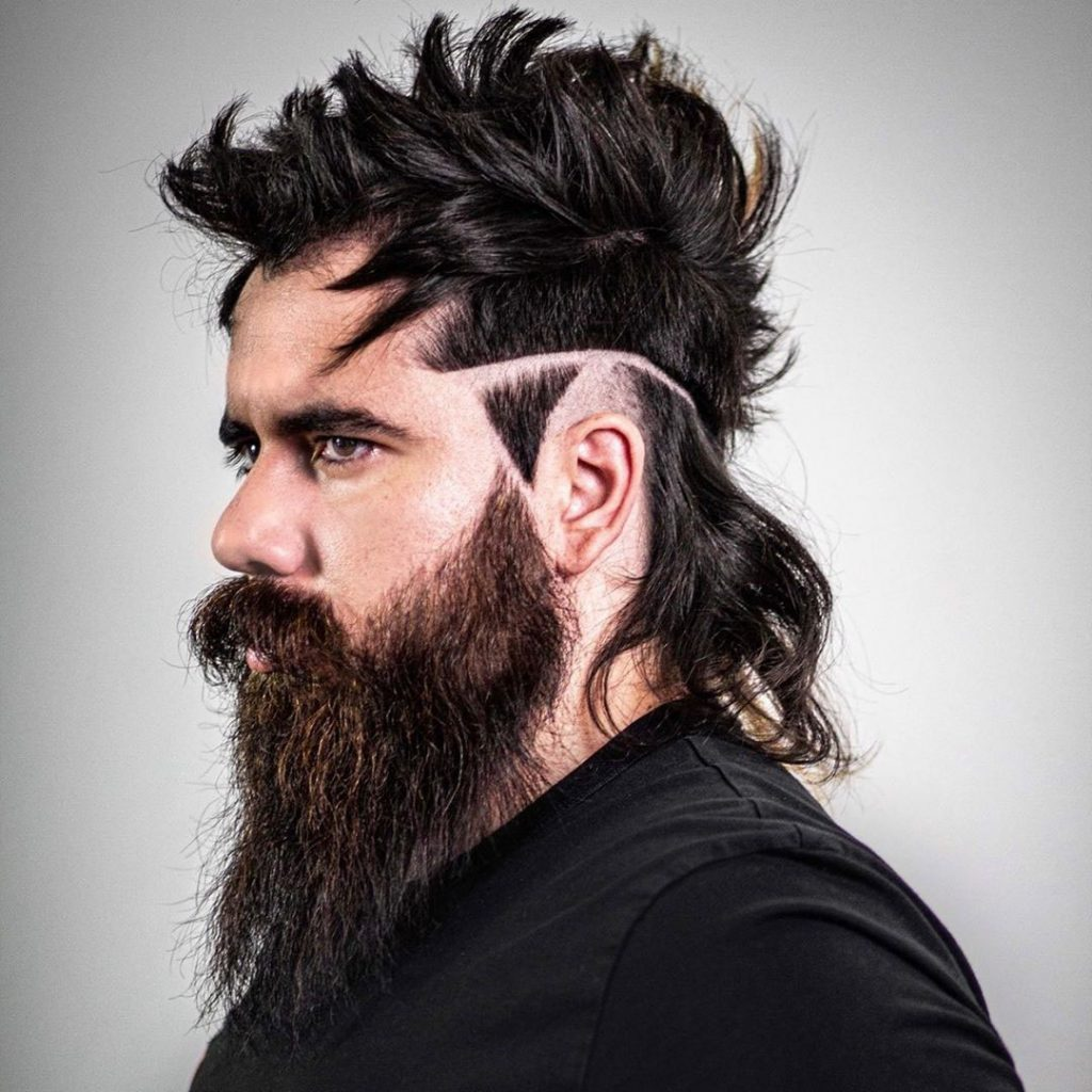 Long Hair Undercut Hairstyle with Triangle and Beard