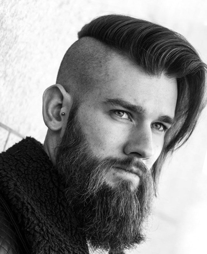 Long Side Swept Undercut with High Fade and Beard