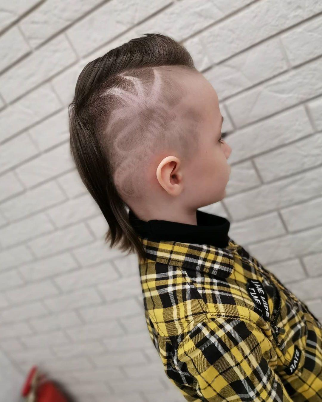 Long Undercut Cut for Boys with Alien Design - side view