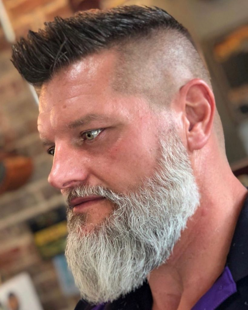 Low Key Faux with High Fade and Gray Beard