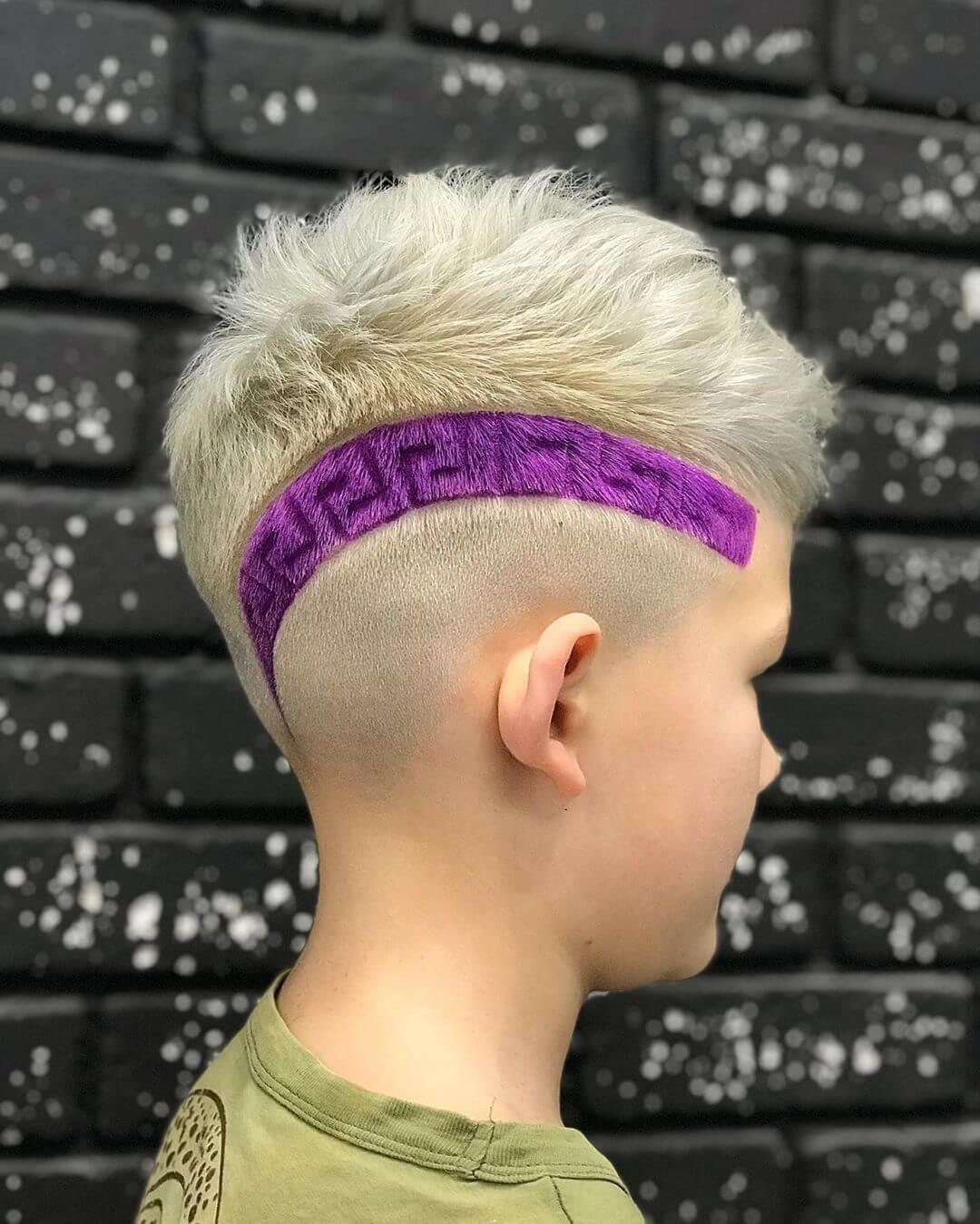 Messy Haircut with Violet Line Design for Teen Boys - side view