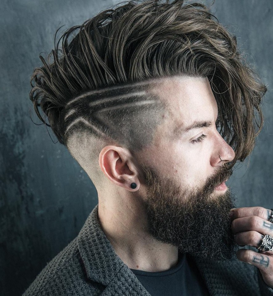 Messy Long Undercut Haircut with Beard and Hair Design