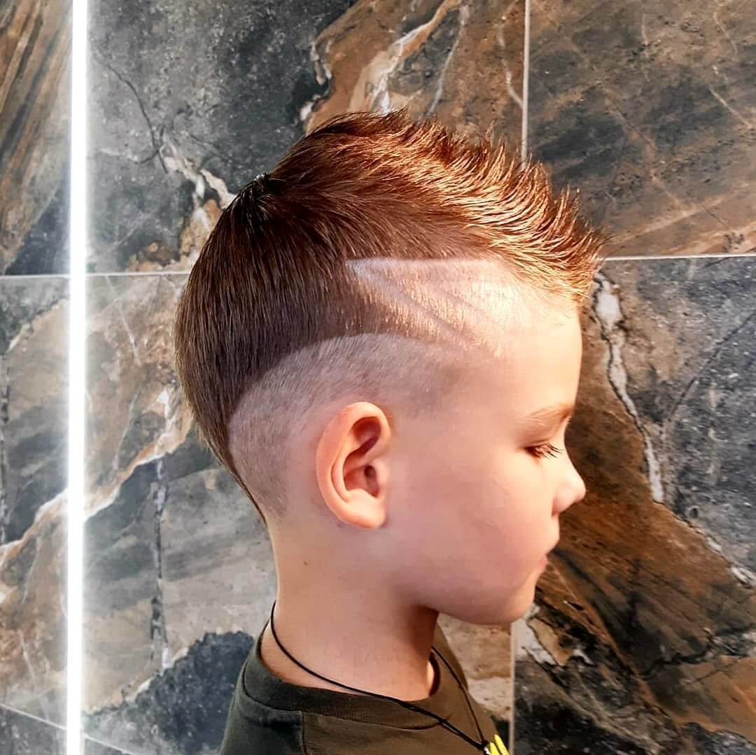 Mohawk Undercut Hairstyle with Medium Fade for Kids - side view