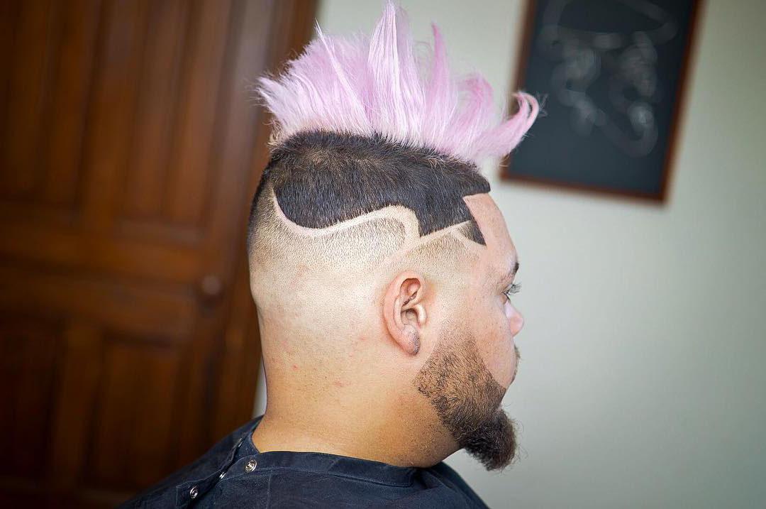 Pink Mohawk Undercut Design with Bald Fade