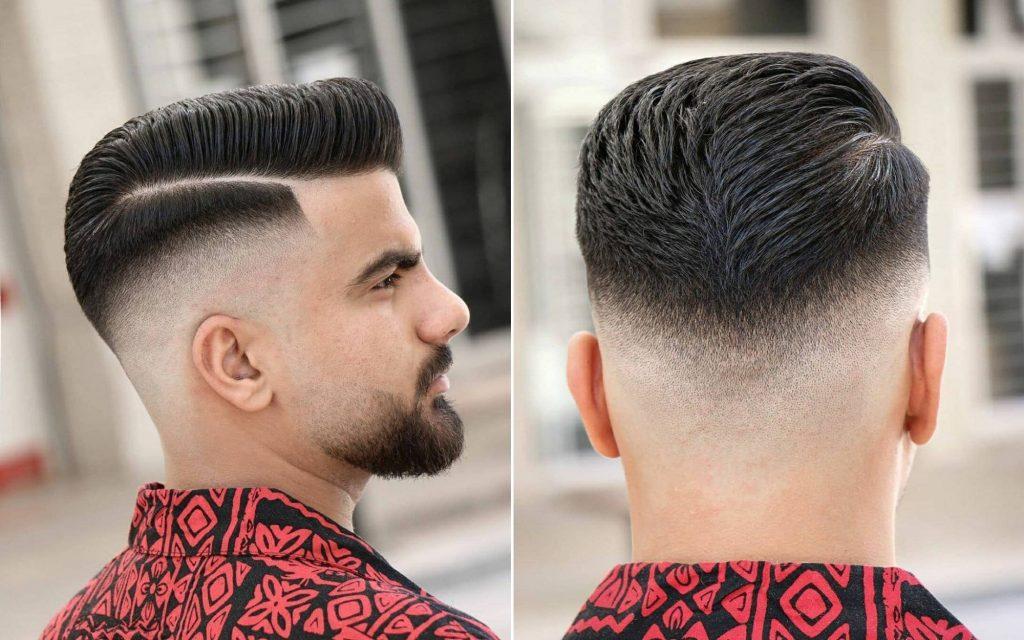 Pompadour Haircut with Long Line