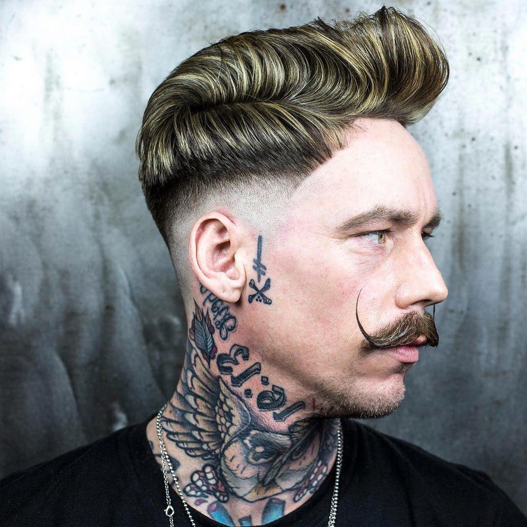 Pompadour Haircut with Medium Fade and Moustache - side view