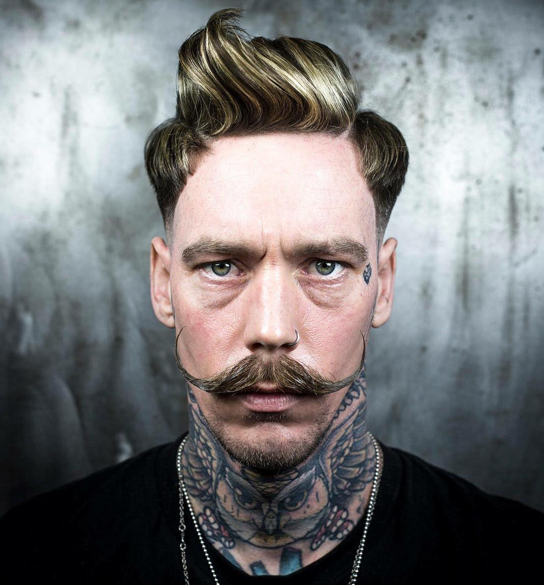 Pompadour Haircut with Medium Fade and Moustache