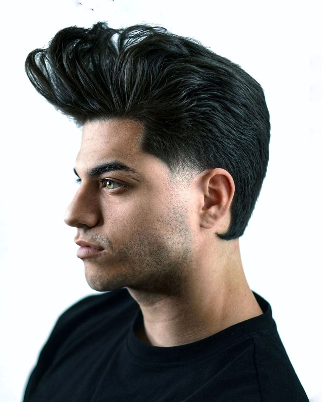 Pompadour Hairstyle with Stubble