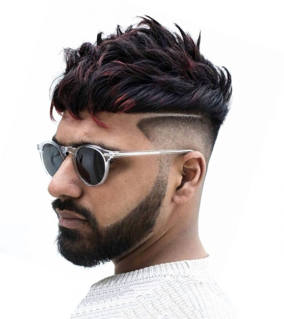 Short Curly Undercut Design with Full Beard - left side view