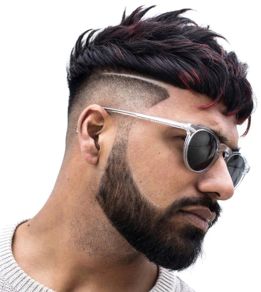 Short Curly Undercut Design with Full Beard - right side view