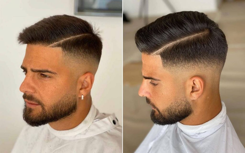 Side Part + Tapered Sides + Beard