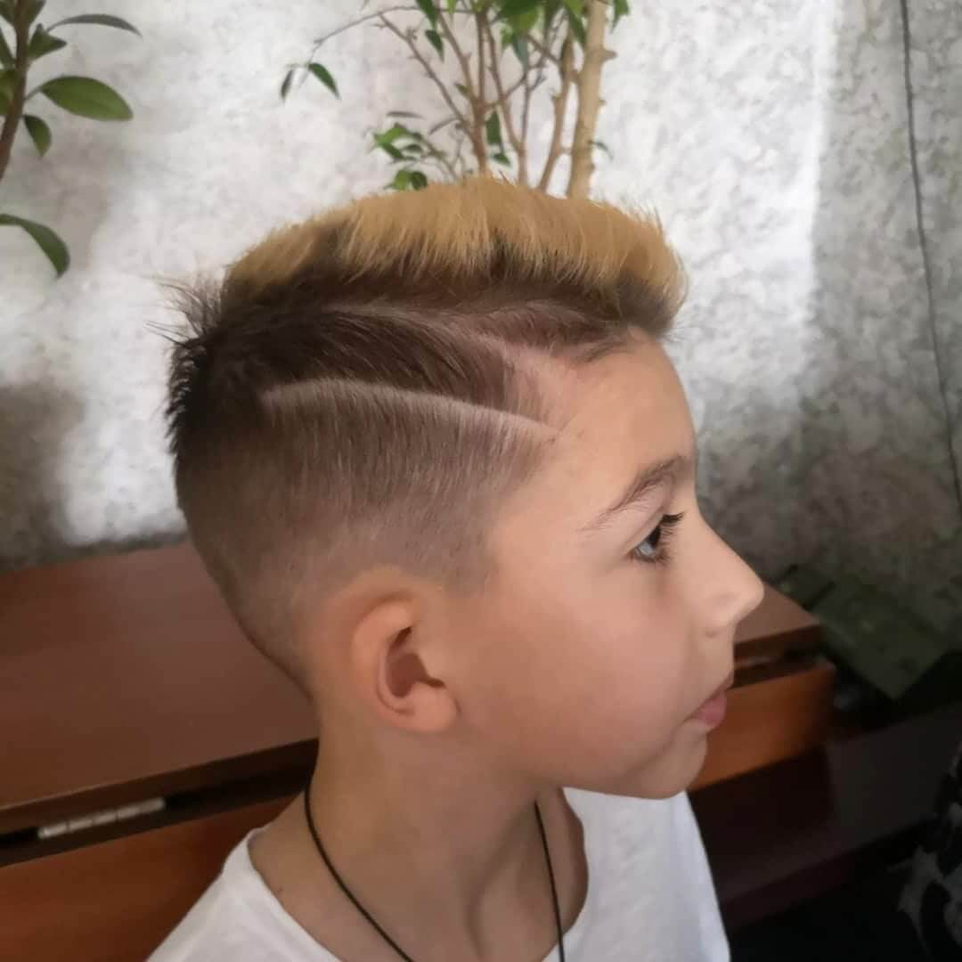 Side Part Thick Hair with Taper Fade right side view