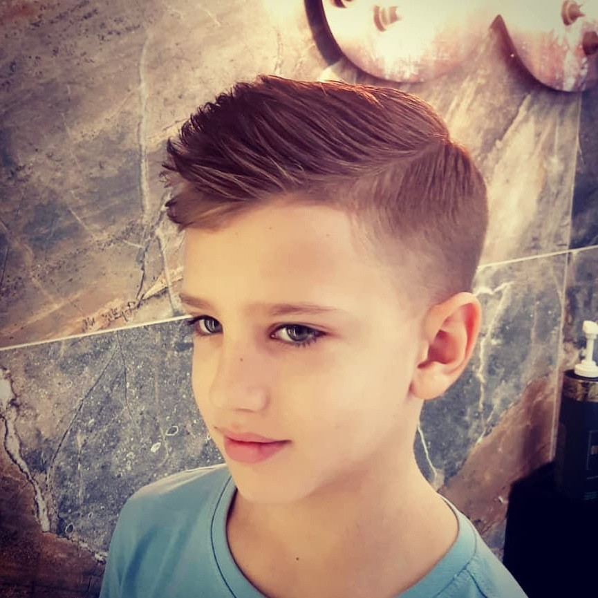 Side Part Undercut Hairstyle with Fade for Kids
