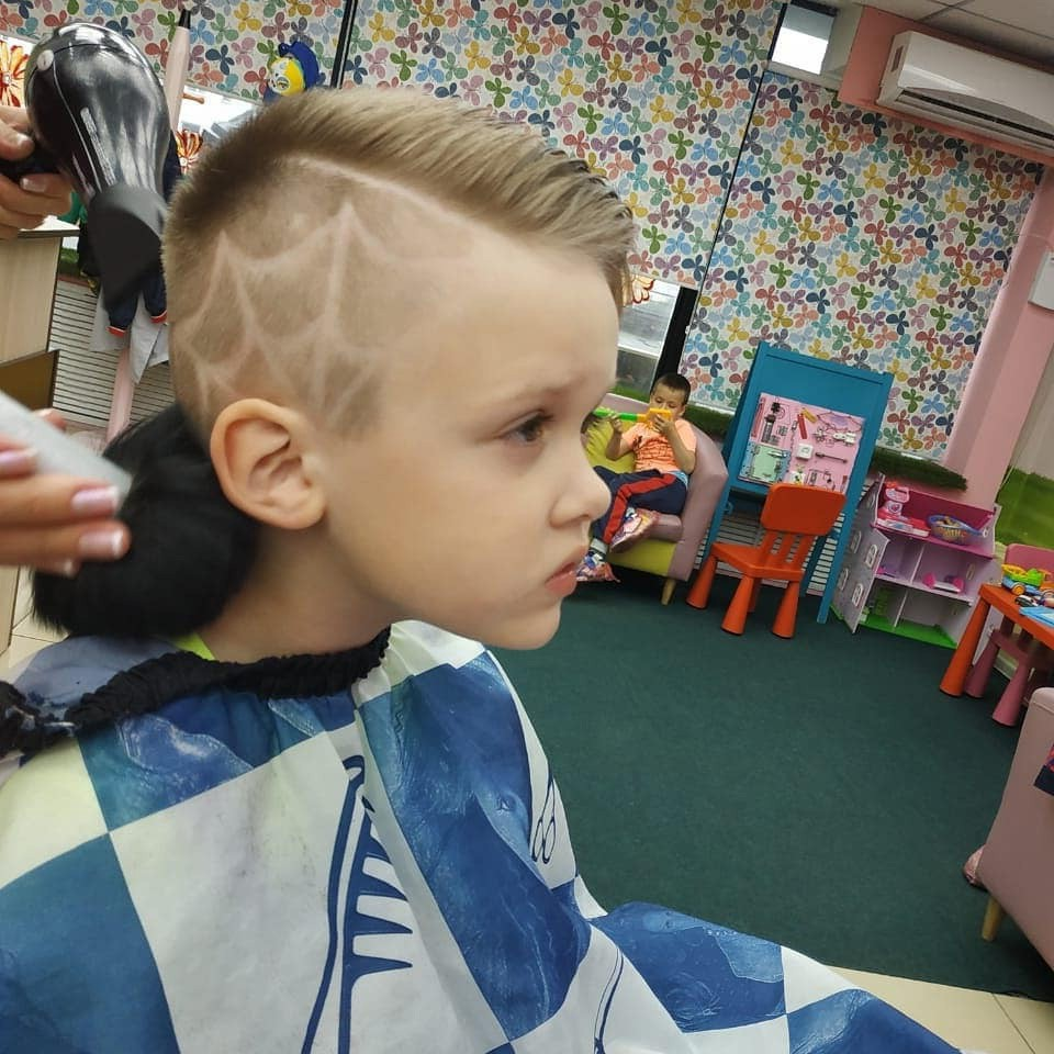 Side Part Undercut Hairstyle with Spiderweb for Boys