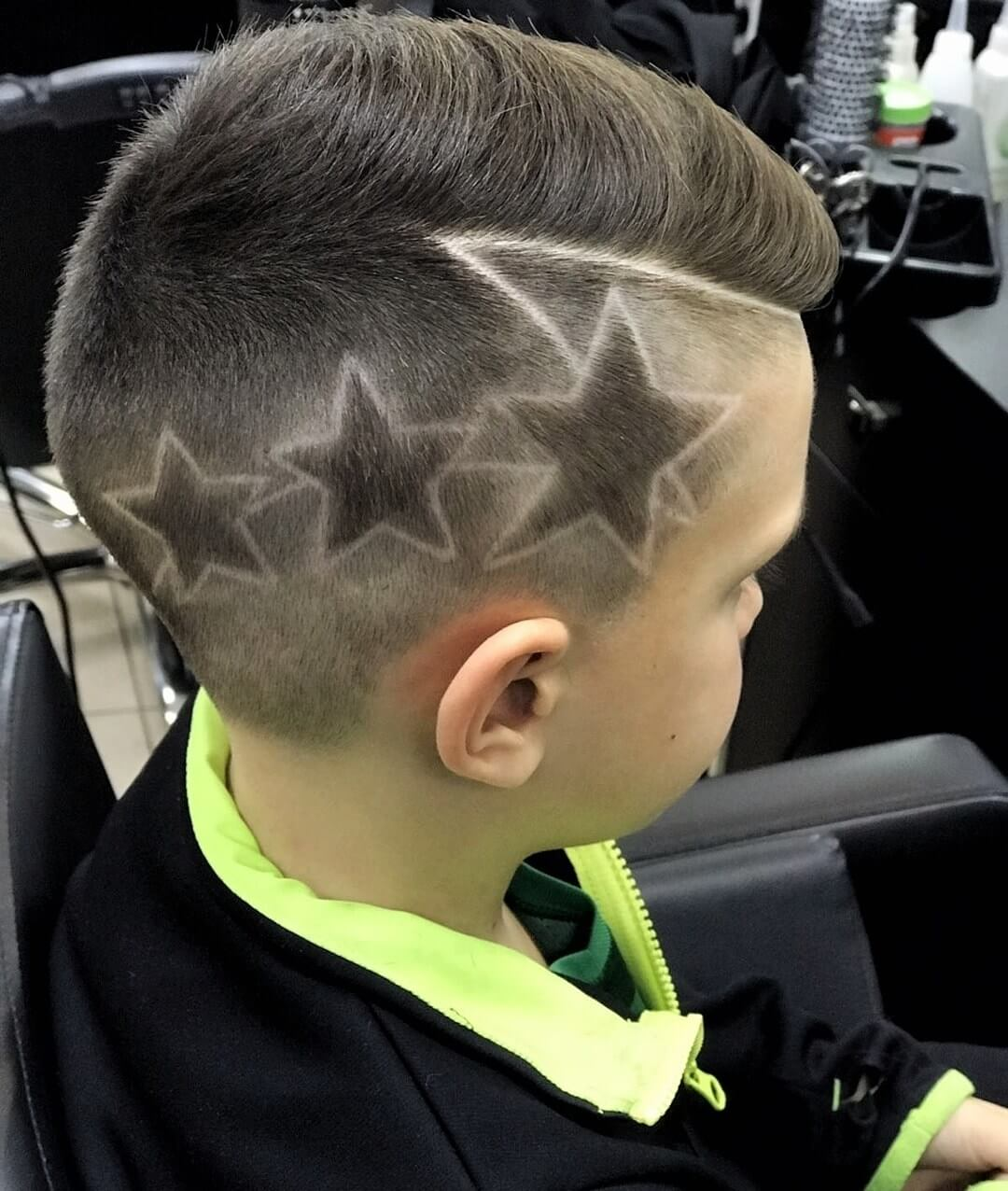Side Swept Haircut with Stars Design - side view