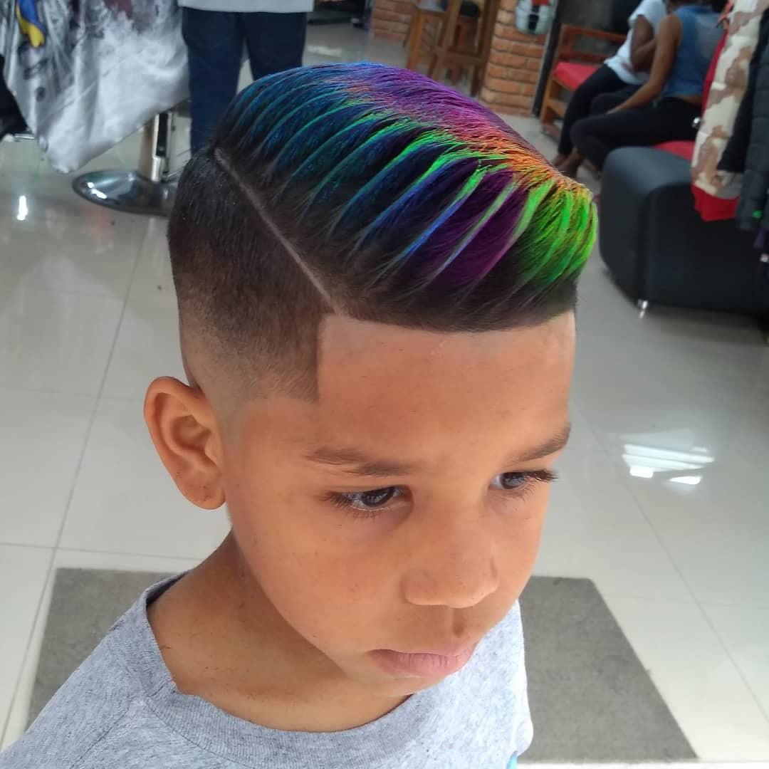 Side Swept Rainbow Undercut Design for Toddler Boys