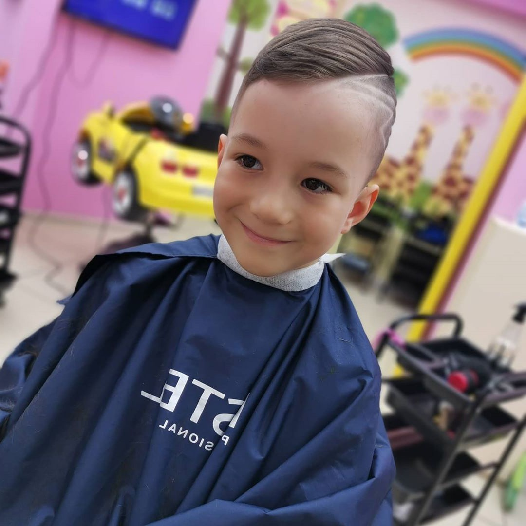 Side Swept Undercut Design with Lines for Boys