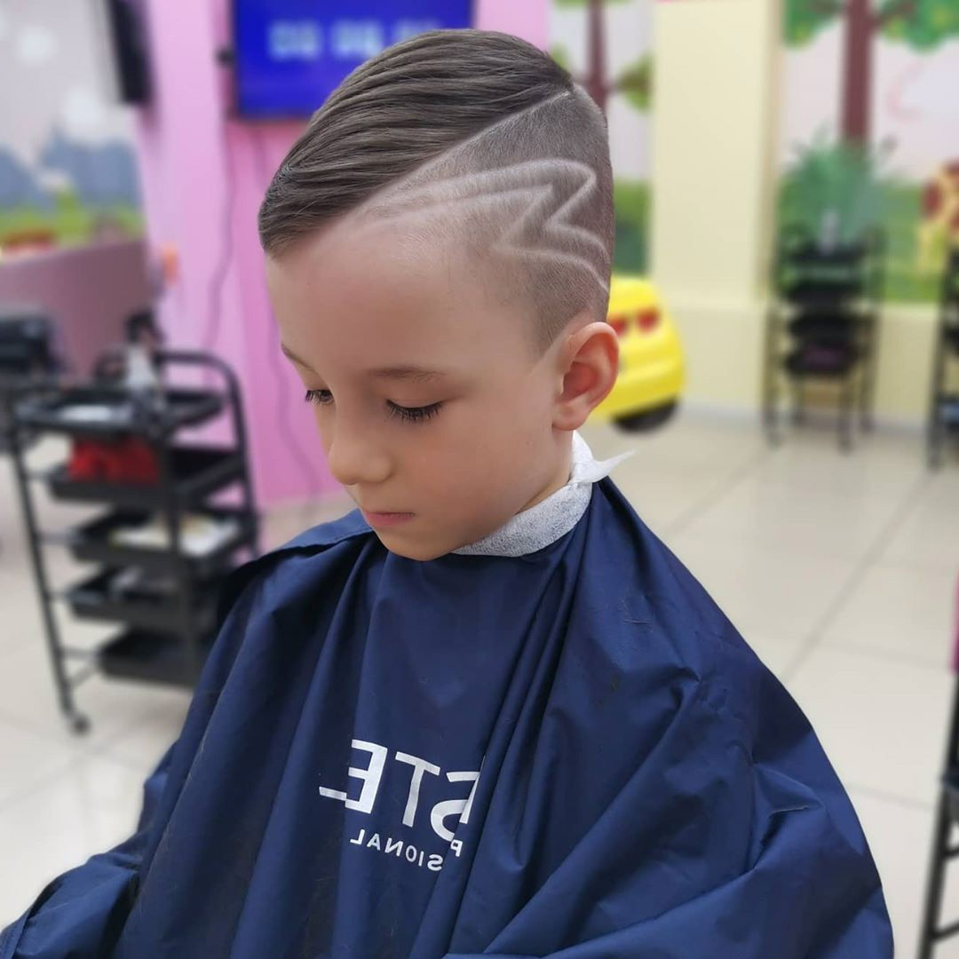 Side Swept Undercut Design with Lines for Boys - side view