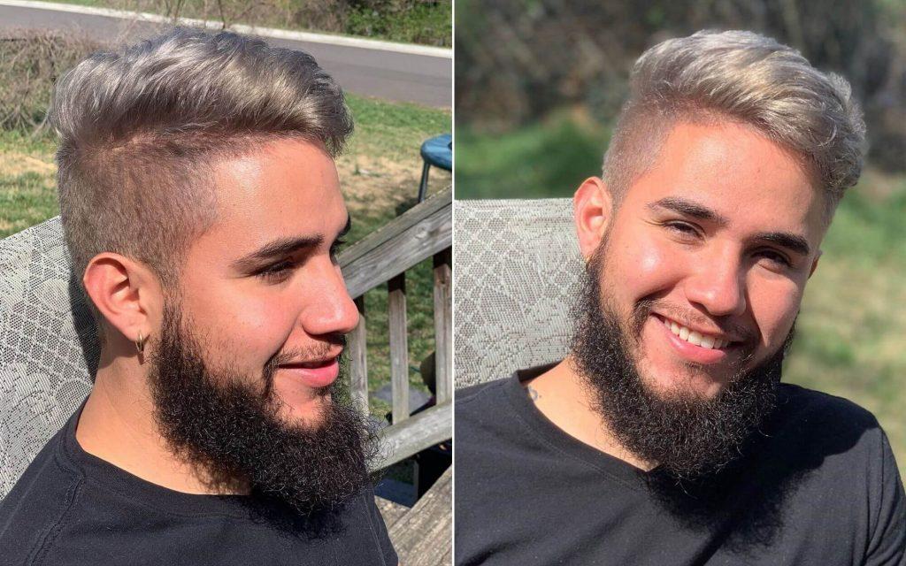 Side Swept Undercut Haircut with Beard