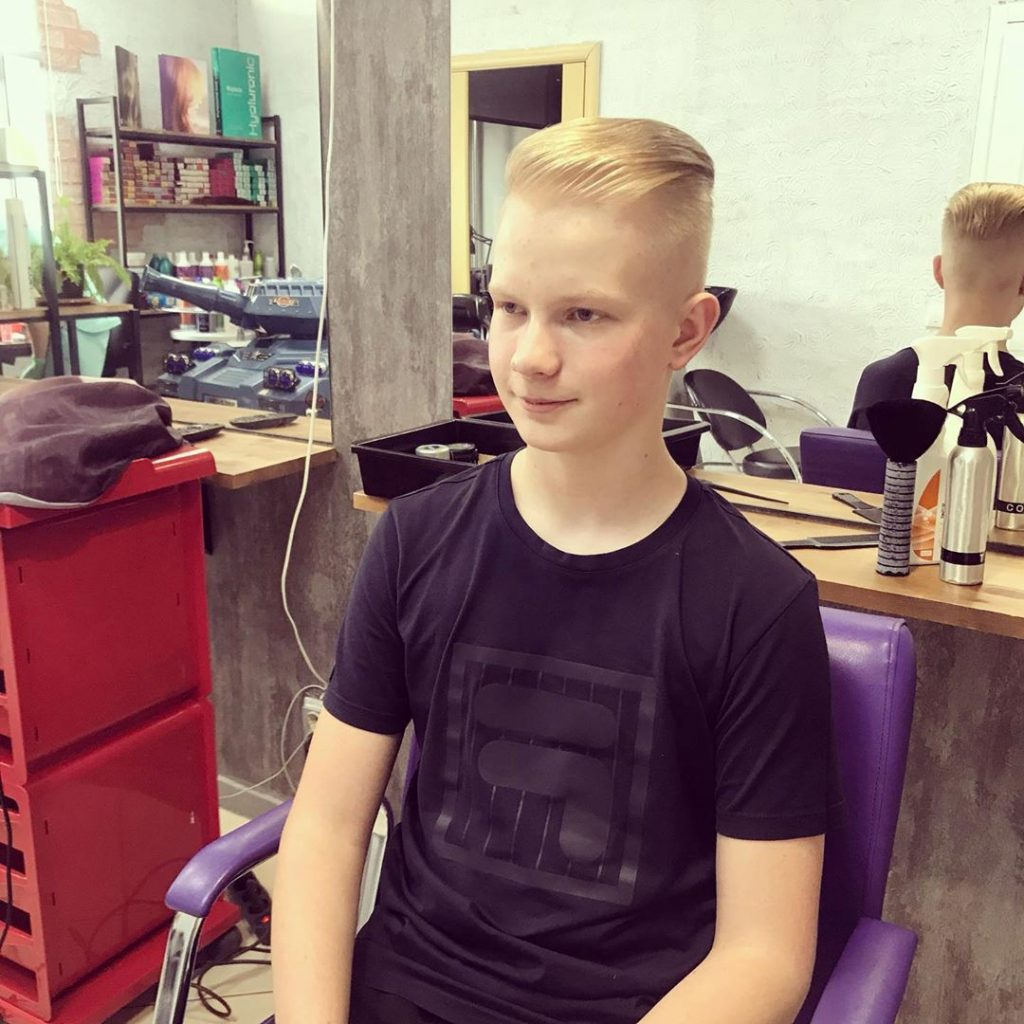 Side Swept Undercut Hairstyle for Blonde Boys
