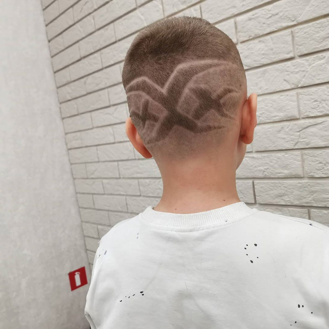 Skin Fade Haircut for Kids with XXX Design