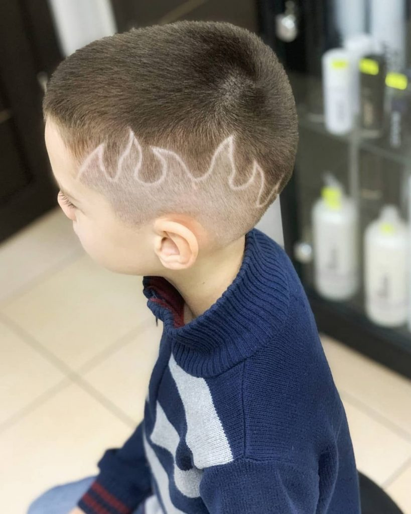 Skin Fade Haircut with Flame Design