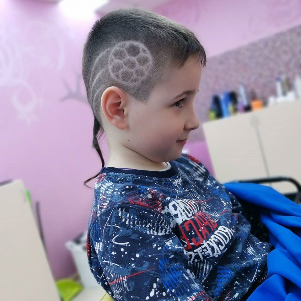 Soccer Ball Undercut Design with Pigtail for Kids