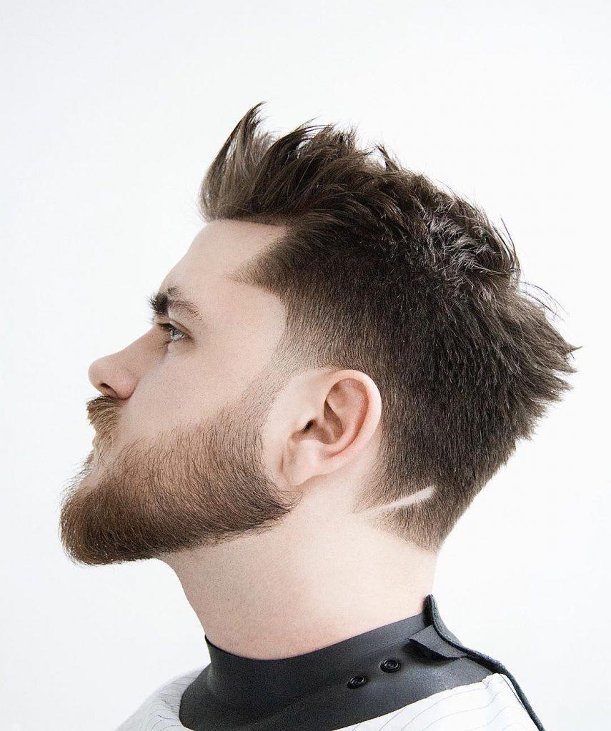 Spiky Undercut Haircut with Fade and Full Beard