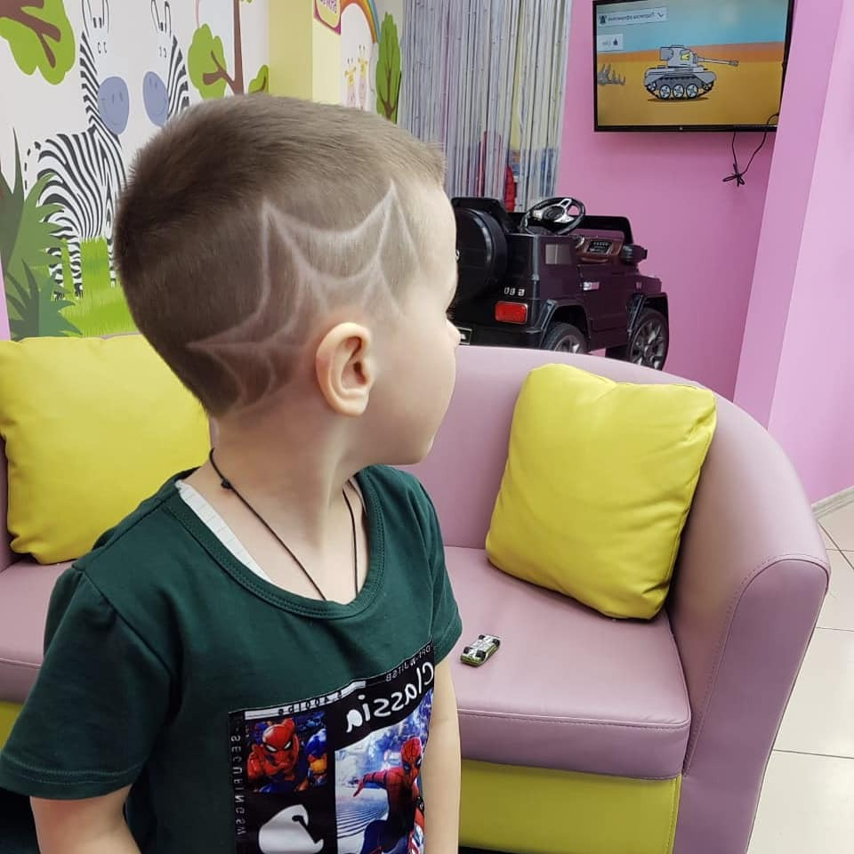 Toddler Boy Hairstyle with Cobweb Design