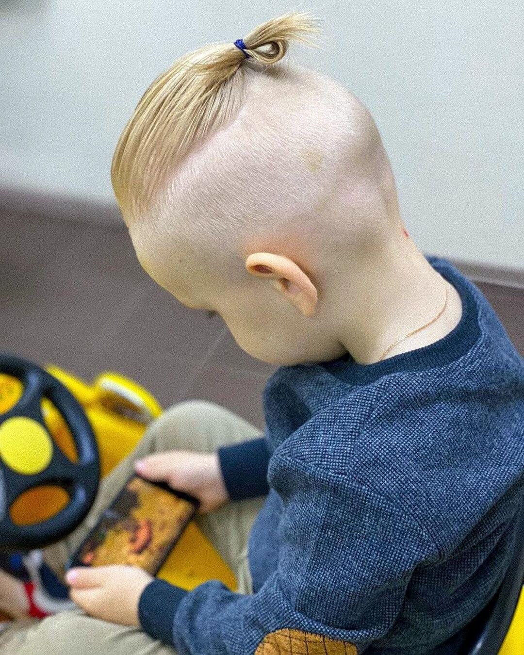 Toddler Boy Long Hair + Top Knot - back side view