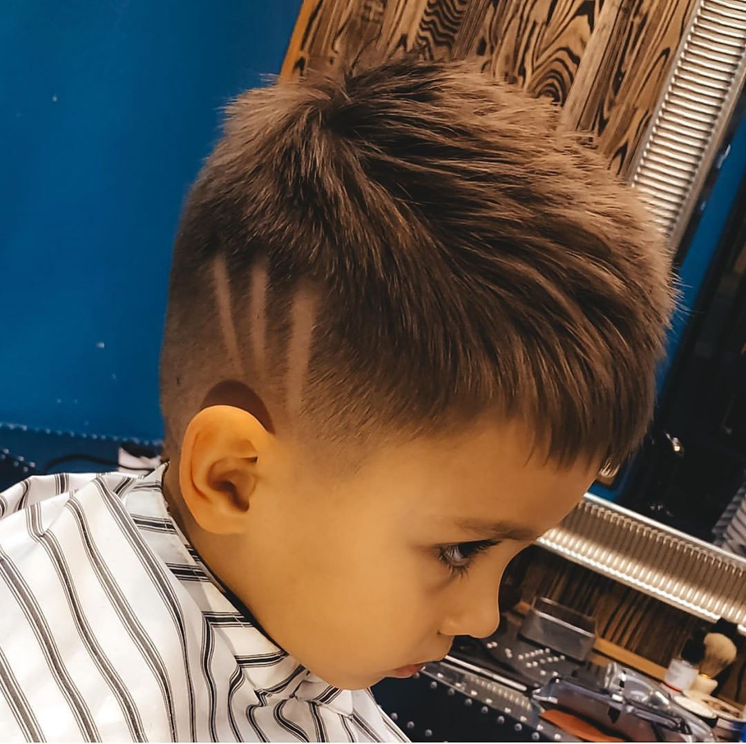 Toddler Boy Messy Hairstyle with Three Lines