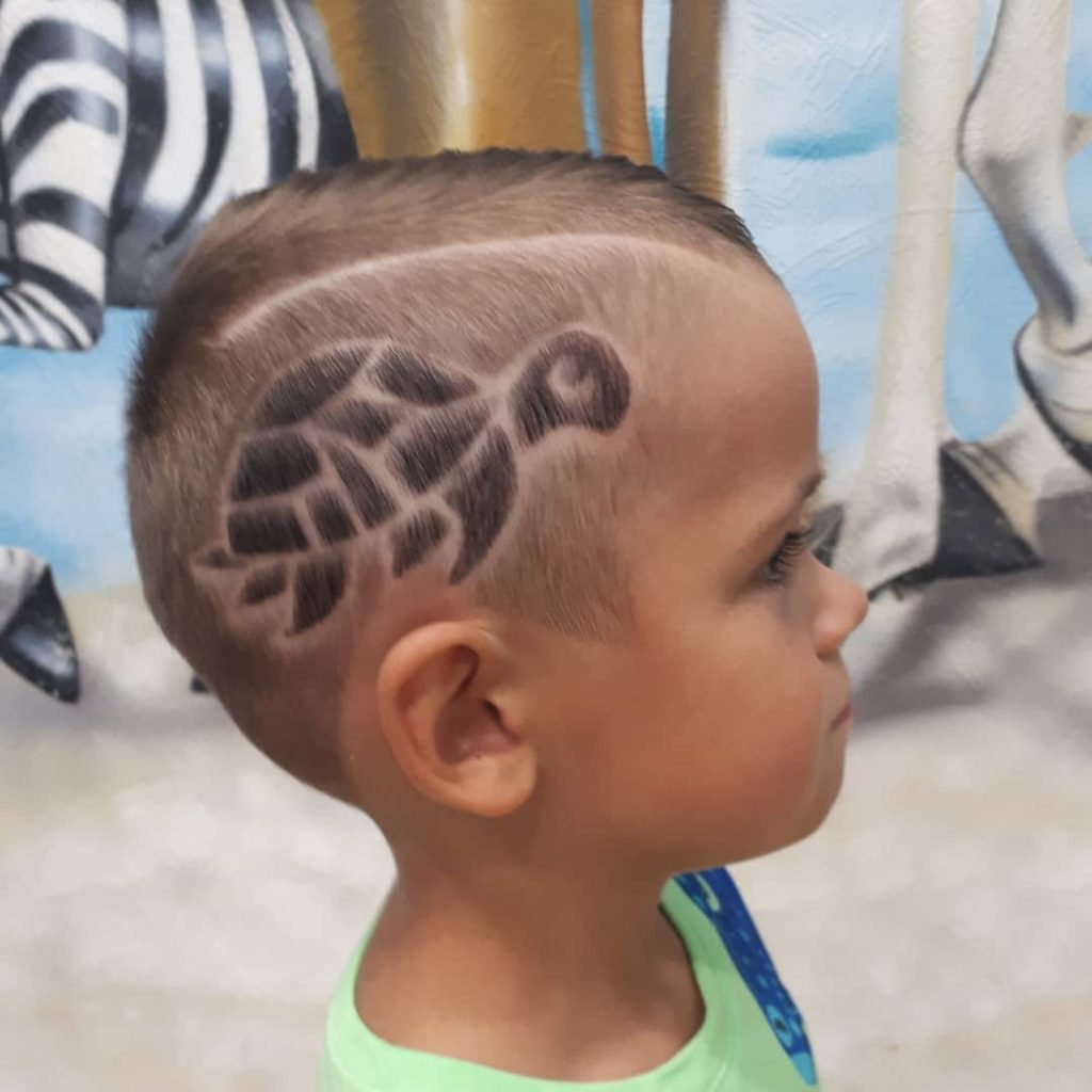 Toddler Boys Fade Undercut with Turtle Design