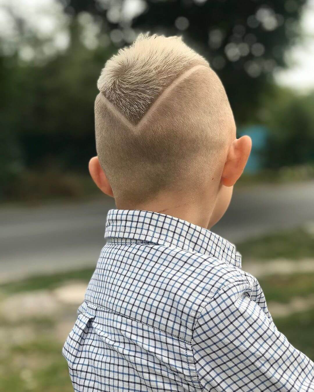 Triangle Undercut Design for Boys - back side view