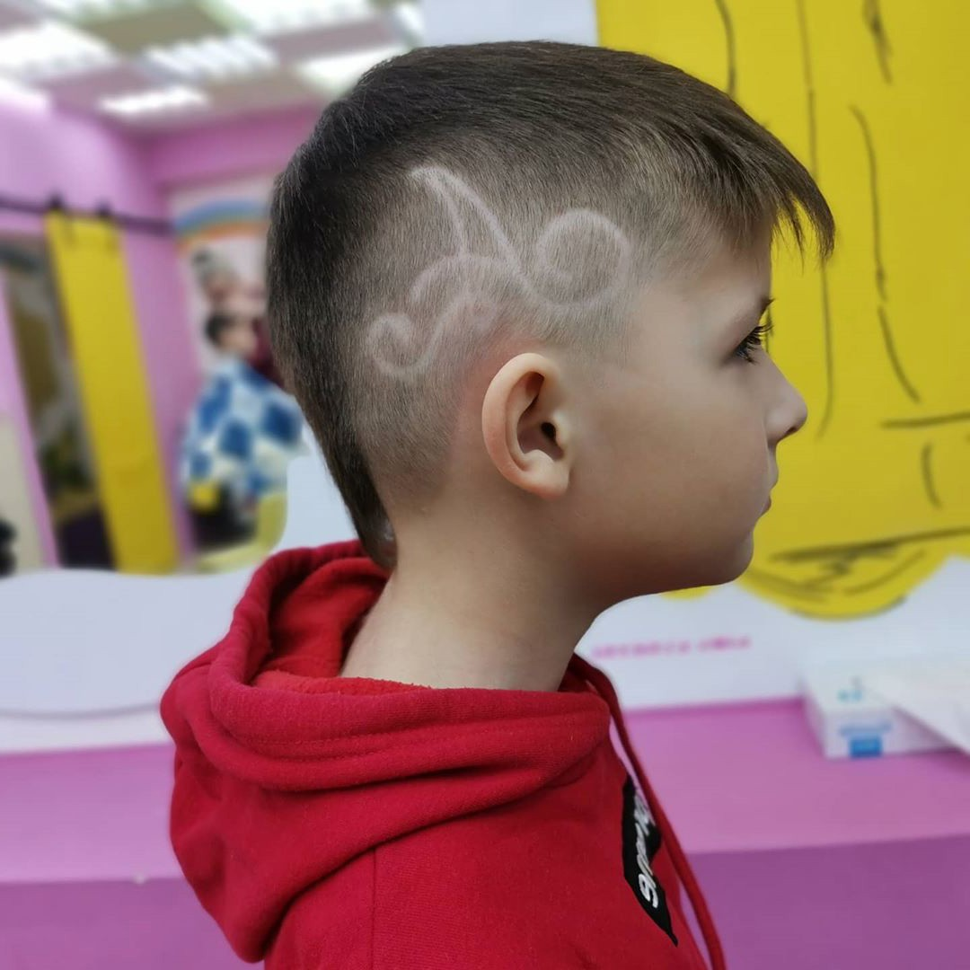 Undercut Design with Fringe and Letter A for Boys