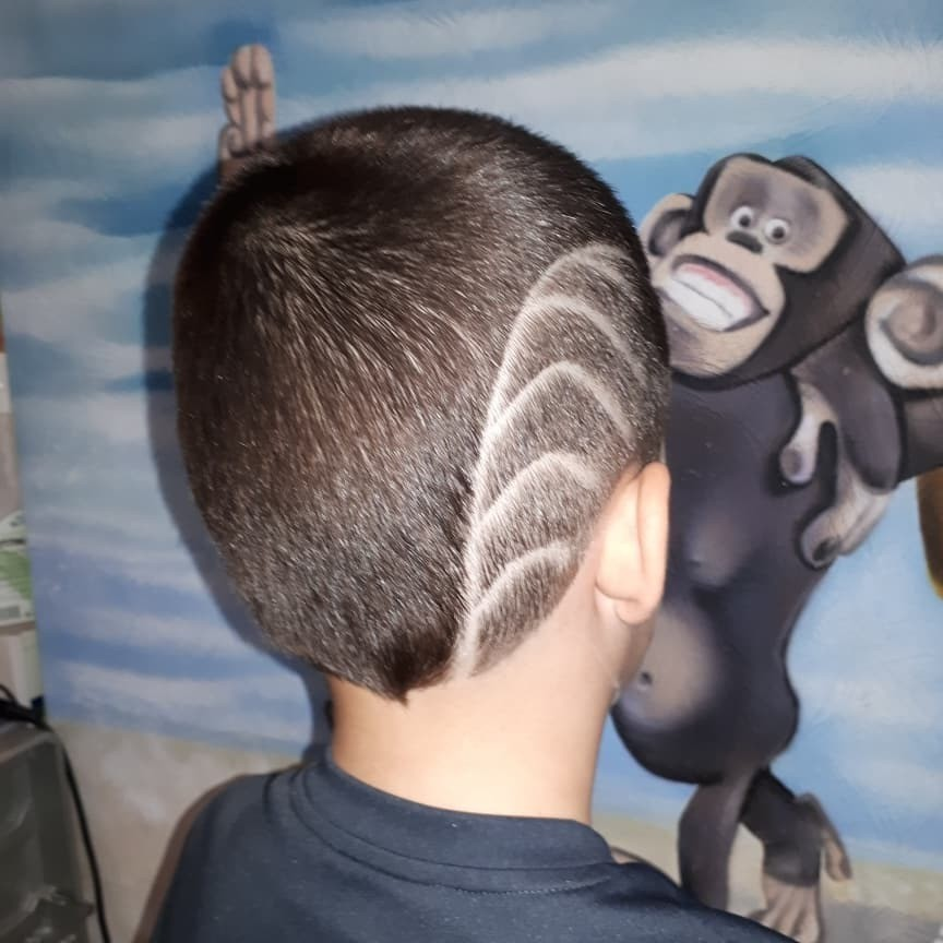 Undercut Design with Lines for Toddler Boys - back side view